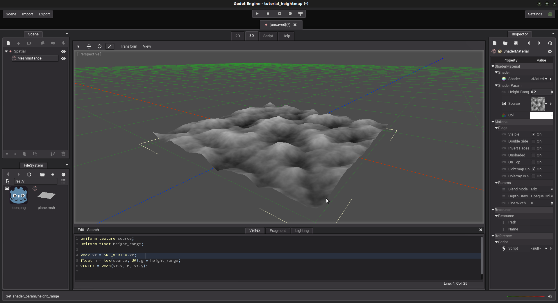 Mesh generation with heightmap and shaders — Godot Engine 2 1