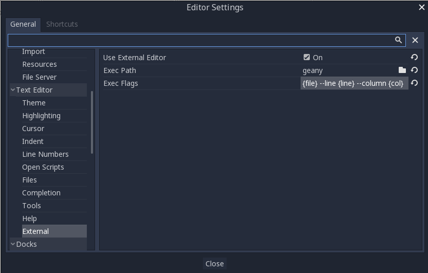 Using an external text editor — Godot Engine latest documentation