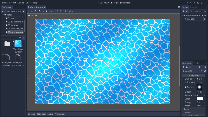 Intro to shaders: 2D and 3D water — Godot Engine latest