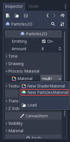 Particle systems (2D) — Godot Engine latest documentation