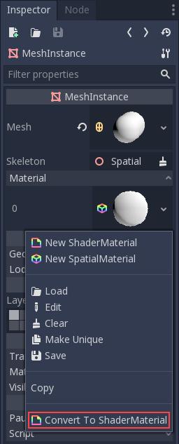 Shader materials — Godot Engine latest documentation