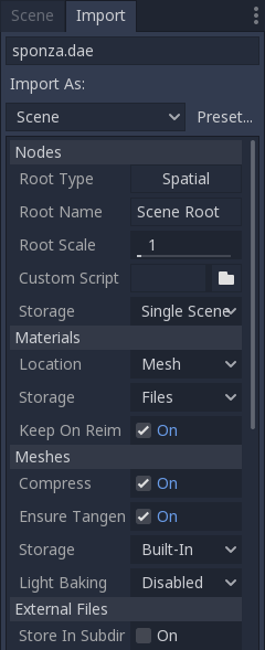 Importing 3D scenes — Godot Engine latest documentazione