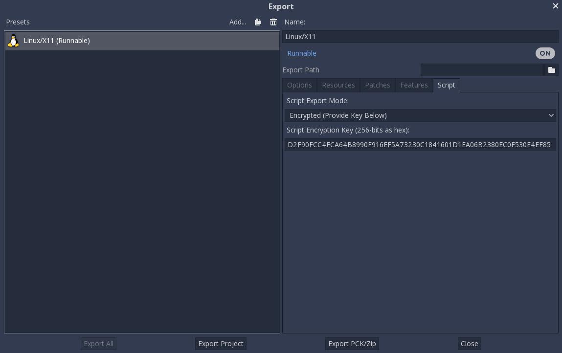 Compiling with script encryption key — documentação Godot Engine latest